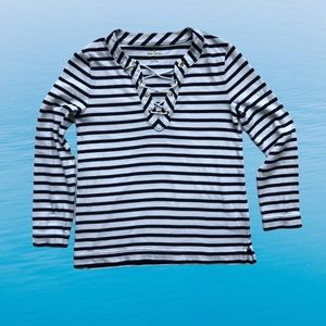 Kate Spade Nautical Striped Top With Lacing M